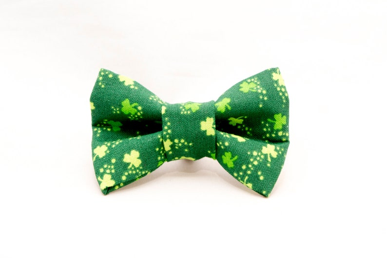 Dapper Cat St Patty's Shamrocks Bow Tie image 0