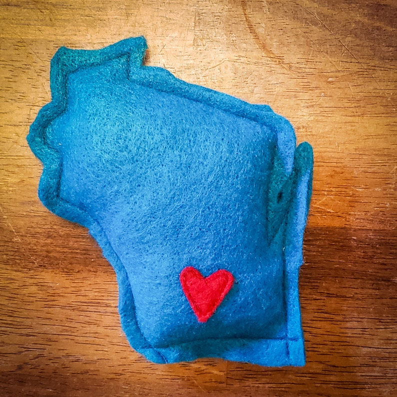 Blue Catnip Stuffed Wisc'rs Wisconsin Shaped Felt Catnip image 0