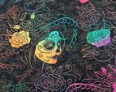 Rainbow Dia De Los Muertos Pattern Halloween Refillable Catnip Mat
