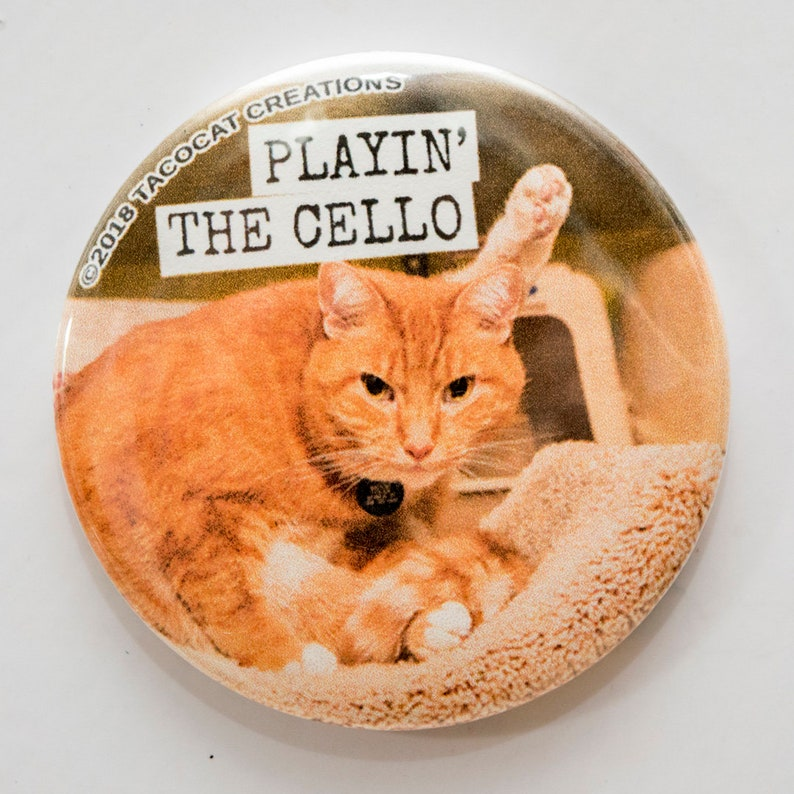 Playin' the Cello  Cat Magnets and Buttons   Different image 0