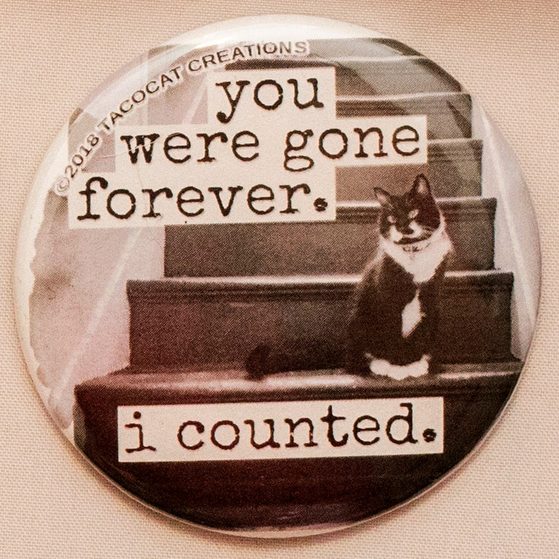 You were gone forever I counted  Cat Magnets and Buttons  image 0