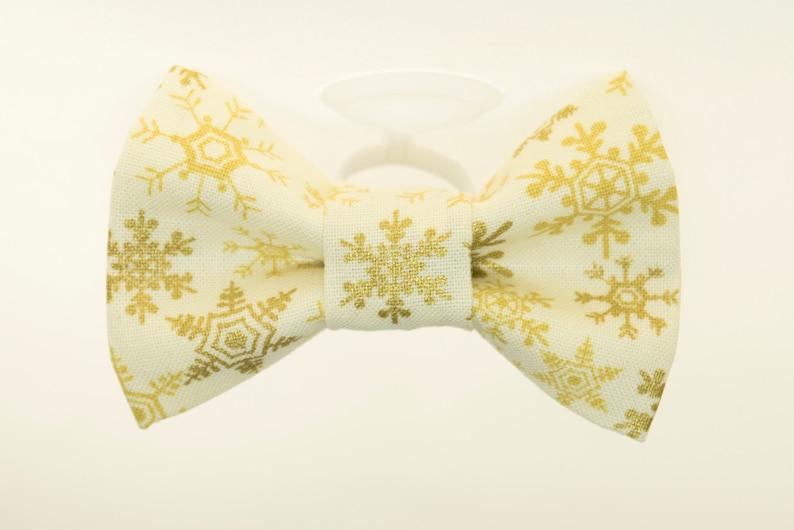 Dapper Cat Metallic Gold Snowflakes Cat Bow Tie image 0