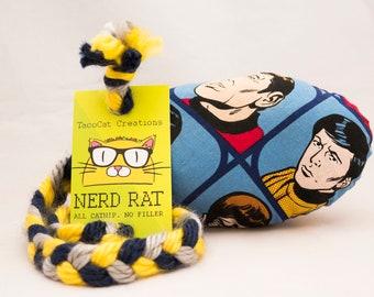 Star Trek Comic Book Faces Catnip Stuffed NerdRat Cat Toy