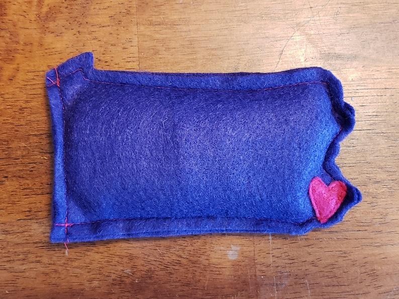 Purple PA Pennsylvania shaped Catnip Stuffed Wisc'rs Felt image 0