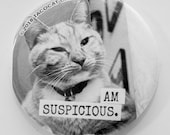 Am Suspicious - Cat Magnets and Buttons -  Different sizes available!