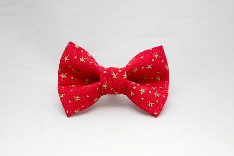 Dapper Cat Christmas Red with Metallic Gold Stars Xmas Cat Bow image 0