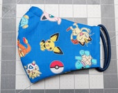READY TO SHIP Pokemon Pattern Contoured Cotton Face Mask w/ Filter Pocket