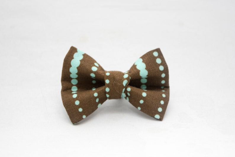 Dapper Cat Brown and Blue Dot Stripes Pattern Cat Bow Tie image 0