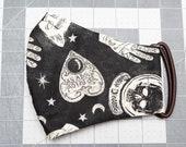 READY TO SHIP Halloween Seance Dark Pattern Contoured Cotton Face Mask w/ Filter Pocket