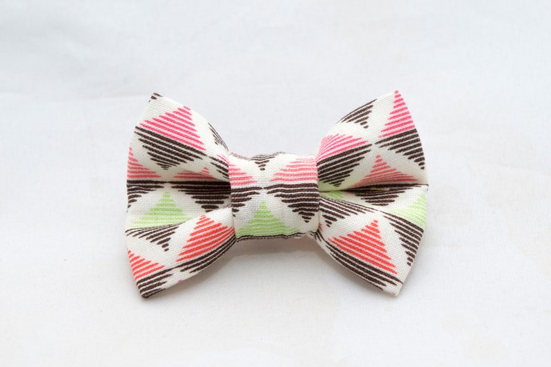 Dapper Cat Pink and Green Diamond Pattern Cat Bow Tie image 0