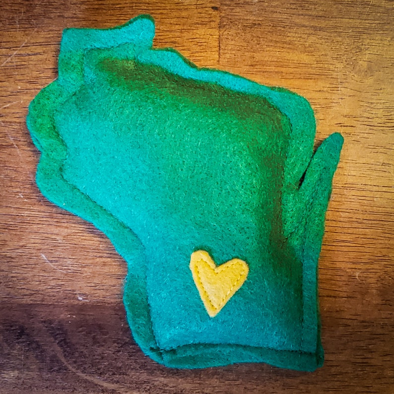 Green Bay Packers Green & Gold Catnip Stuffed Wisc'rs Felt image 0