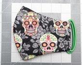 READY TO SHIP Sugar Skulls Pattern Contoured Cotton Face Mask w/ Filter Pocket