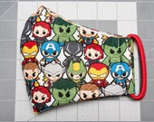 READY TO SHIP Marvel Kawaii Pattern Contoured Cotton Face Mask w/ Filter Pocket