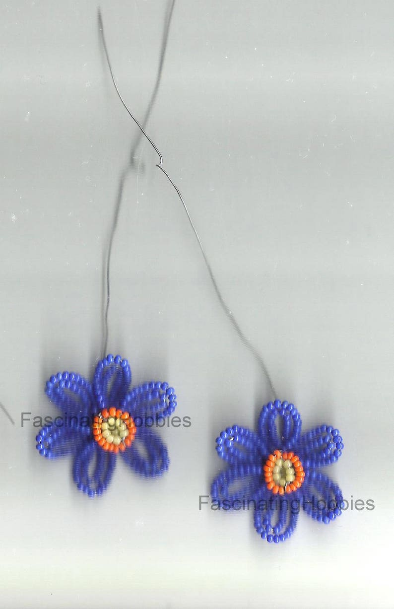 must be completed for earrings or other Good condition Vintage Handmade 2 Pairs of BLUE or RED Glass BEADS Double 6 Petals,orange Heart