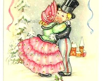 Vintage DESIGNED LOVERS Kissing Postcard -Snow LANDSCAPE -Sweet Couple fancy clothes -French colorful design Print- years 50- Good Condition