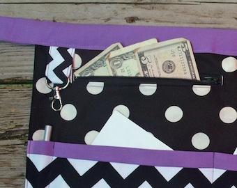 Purple trim Chevron and Polka Dot Vendor Craft Apron, Farmer's Market, Teacher Apron, monogram Apron with Zipper Pocket & optional Key Fob
