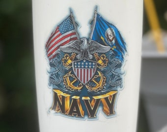 Free Shipping, US Navy Veteran Cup, Miitary Tumbler, Birthday Gift, Veteran Gift, Welcome Home Gift, US Army Gift
