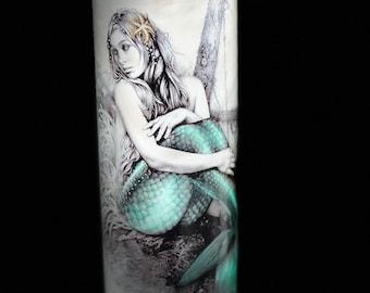 Free Shipping, Mermaid tumbler, Beach Tumbler, 20 oz skinny Stainless Steel Tumbler, Birthday Gift, Bridesmaid Gift, Mermaid cup