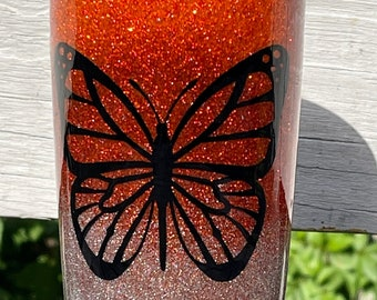 Free Shipping, Butterfly tumbler, Monogrammed Tumbler, 20 oz Tumbler, Birthday Gift, Bridesmaid Gift, personalized Butterfly tumbler