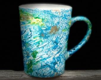 Blue Aqua Hand painted Mug, Hand painted cup, Alcohol Ink Mug, Hand Painted Tea Cup, Birthday Gift, Bridesmaid gift, wedding gift, coffe cup