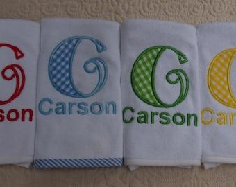 Custom Boutique Personalized Monogram Name Gingham Bib