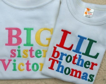 Big Brother Big Sister  Little Brother Little Sister Onesie orTshirt, Sibling Shirt Monogram Personalized