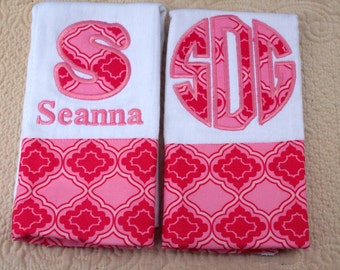 2 Boutique Custom Monogrammed Personalized Burp Cloths
