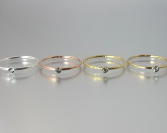 RARE sapphirine stacking ring 14k yellow sparkle or rose gold filled or sterling silver dainty minimalist