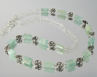lovely ancient Roman glass and sterling silver adjustable length necklace 14 to 18 inch OOAK