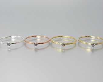 RARE cyprine stacking ring 14k yellow sparkle or rose gold filled or sterling silver dainty minimalist cupro vesuvianite cuprian idocrase
