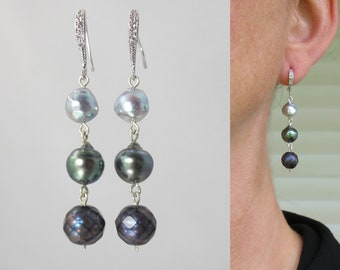 three precious pearls earrings ombre sterling silver Tahitian faceted freshwater and natural blue Vietnamese Akoya