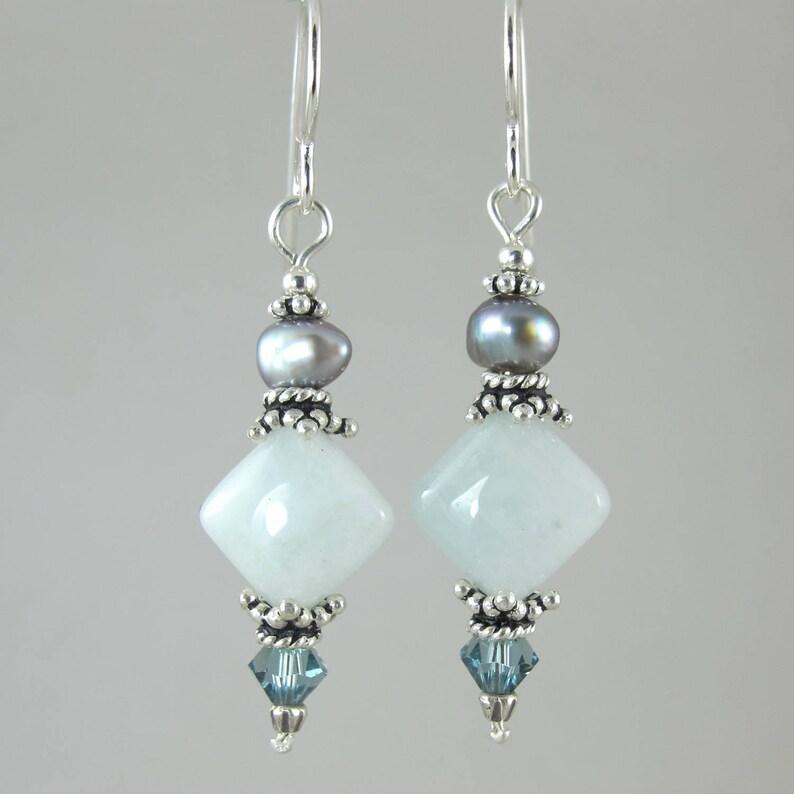 aquamarine freshwater pearl and Swarovski crystal sterling image 0