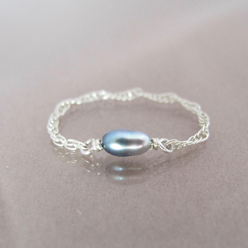 dainty genuine natural Tahitian keshi pearl sterling silver image 0