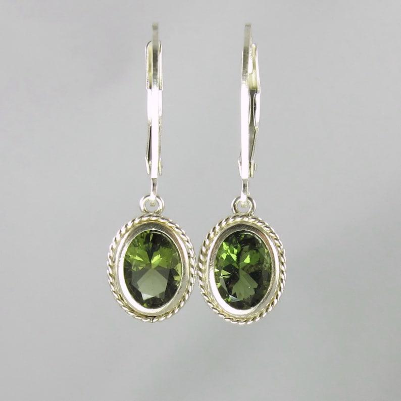 faceted Czech moldavite sterling silver lever back earrings image 0