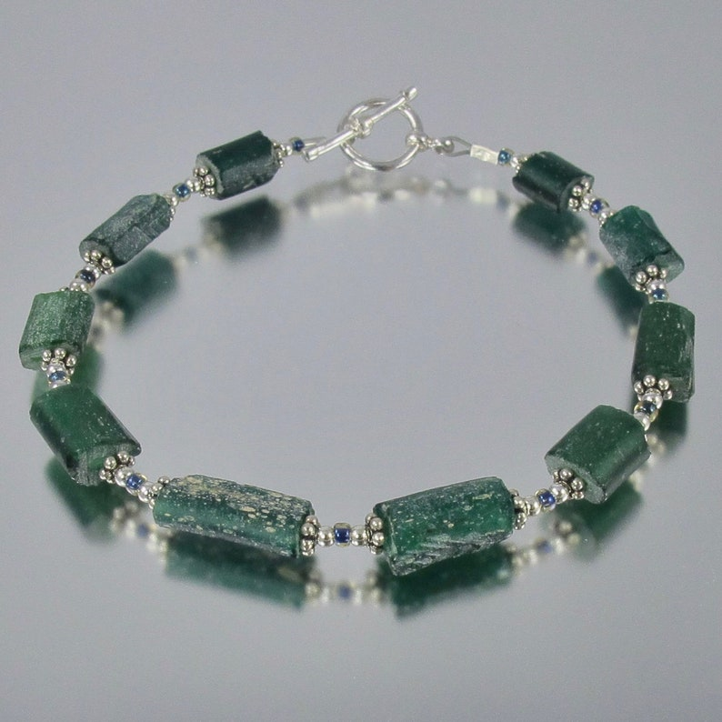 RARE forest green ancient Roman glass sterling bracelet FREE image 0