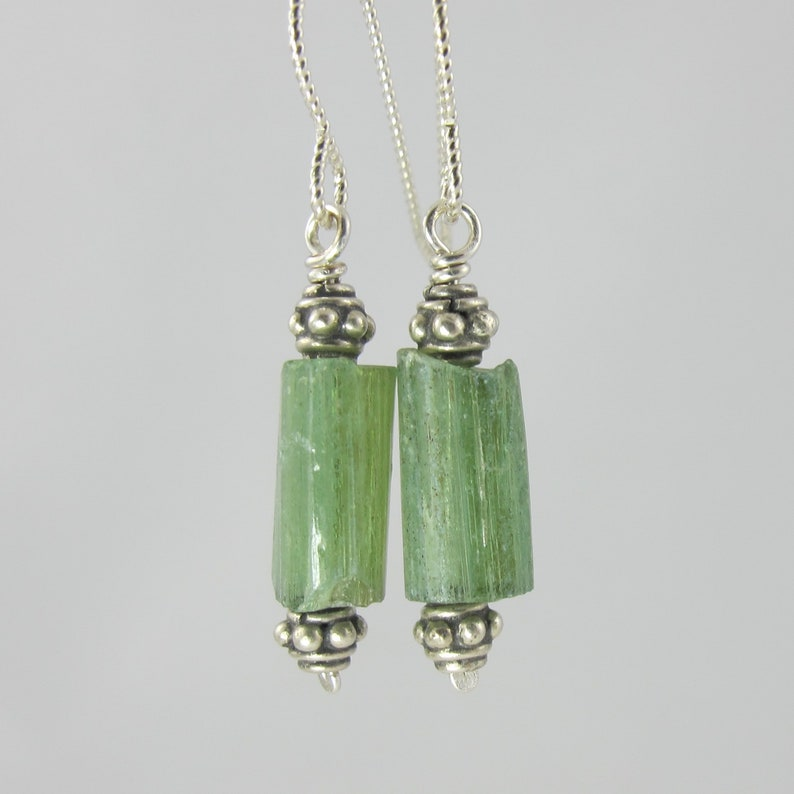 pretty green cylindrical ancient Roman glass sterling silver image 0