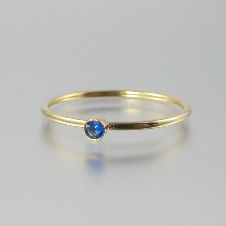 RARE hauyne 14k gold filled electric neon blue ring size 5 or image 0