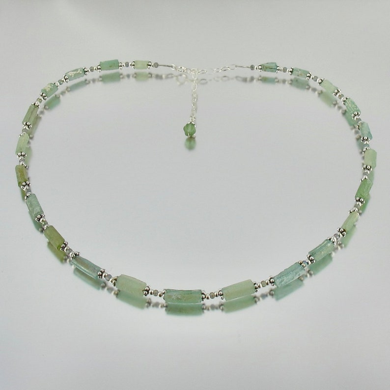 petite sea foam green ancient Roman glass sterling adjustable image 0