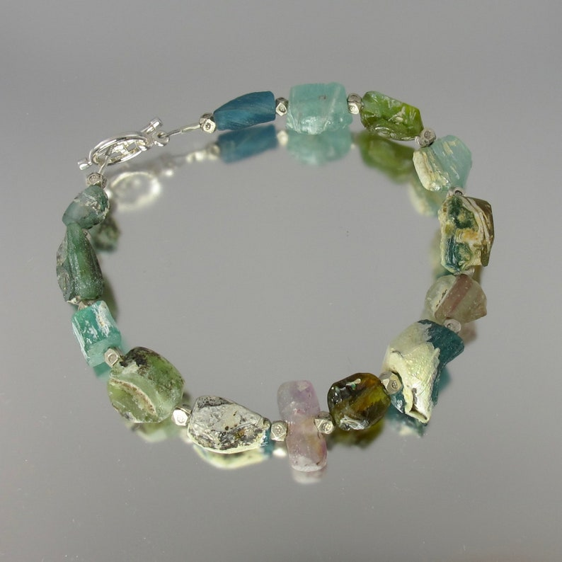 AMAZING multi-color textural ancient Roman glass and sterling image 0