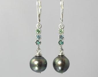 ombre rare gemstone collector's earrings lazulite, Tanzanian kornerupine, mint Merelani garnet and Tahitian pearl lever backs
