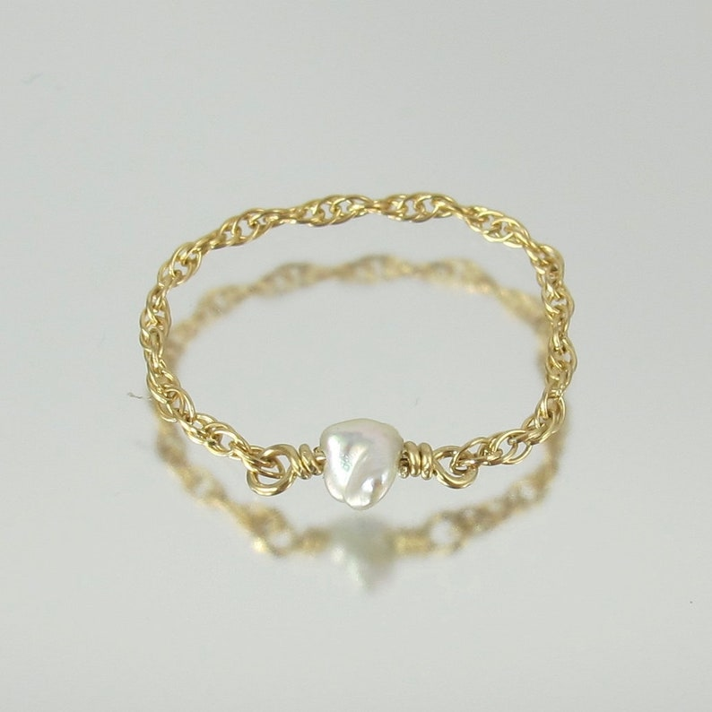 dainty genuine natural Japanese Akoya keshi pearl gold filled image 0