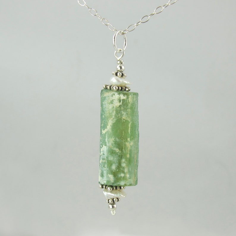 lovely green ancient Roman glass 18 necklace with keshi image 0
