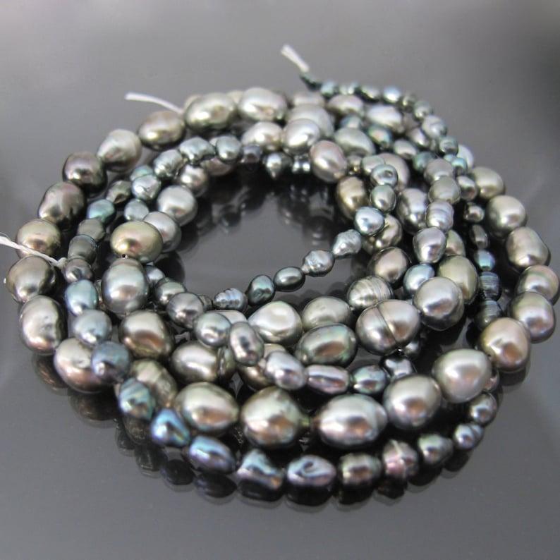 2 full 16 strands Tahitian keshi pearls different sizes image 0