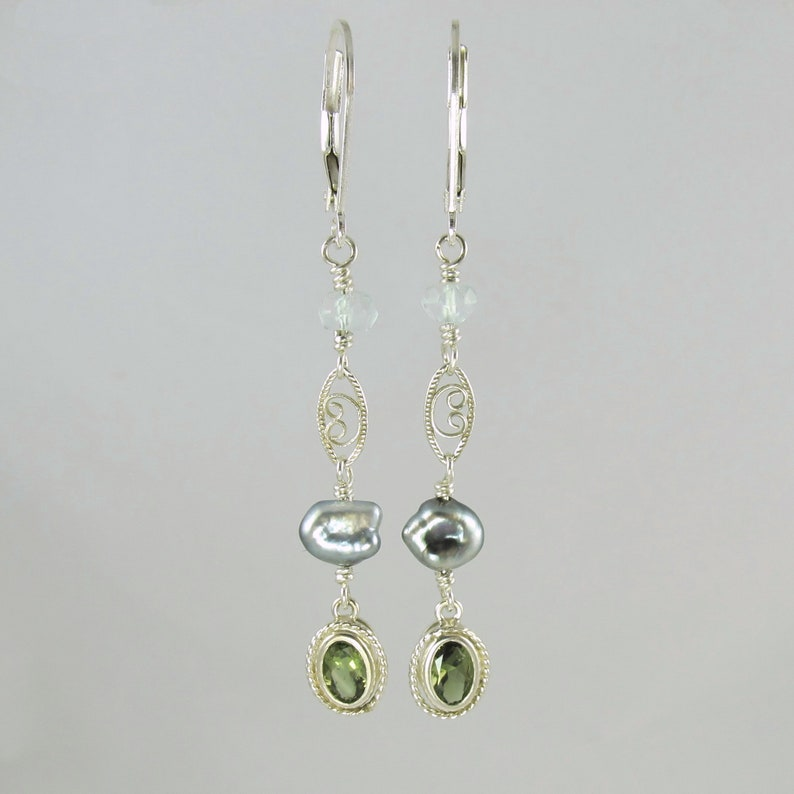 faceted Czech moldavite Tahitian keshi pearl aquamarine and image 0