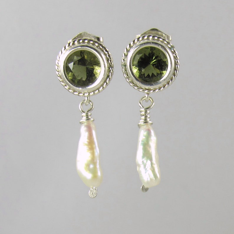faceted Czech moldavite sterling silver post earrings 6mm image 0