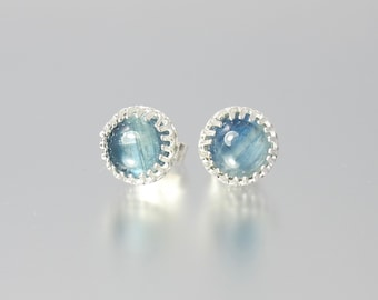 chatoyant cat's eye medium blue kyanite 6mm round sterling silver gallery wire bezel set stud earrings