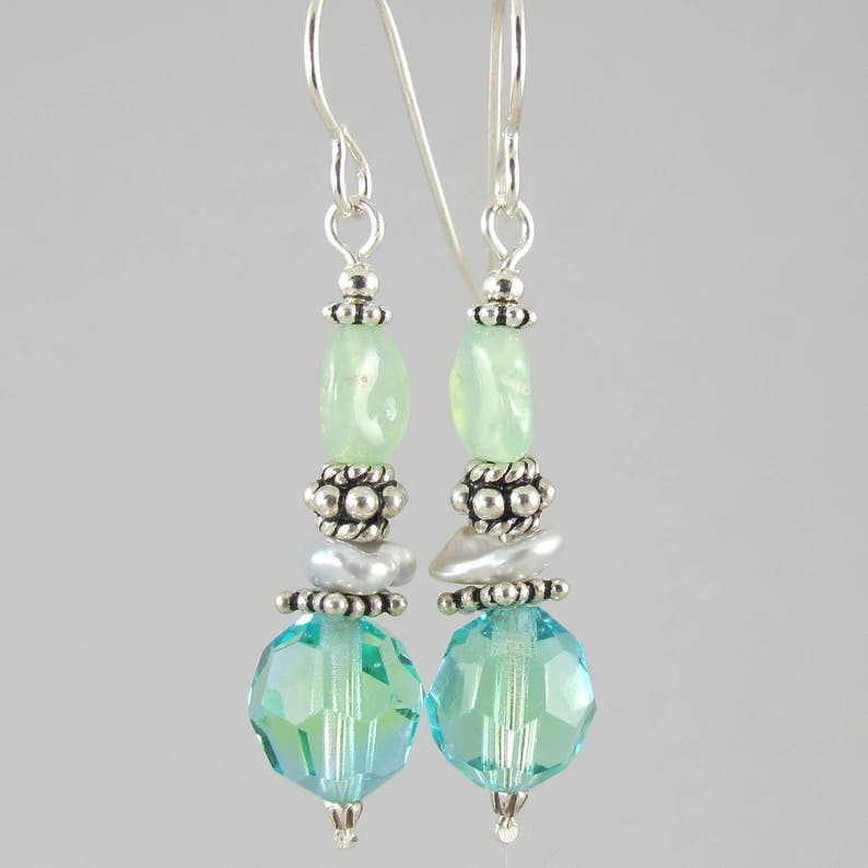vintage crystal and chrysoprase keshi pearl and sterling image 0