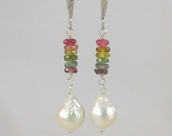sterling silver rainbow tourmaline and white Kasumi like pearl earrings