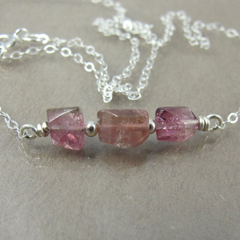 rubellite pink tourmaline sterling minimalist necklace image 0