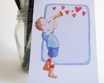 Beautiful Illustrated Valentines Card for Boys